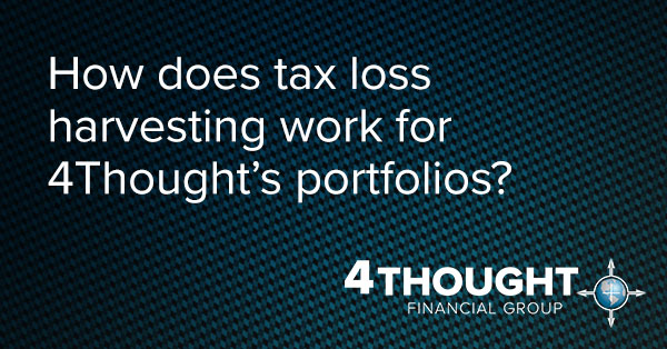 How does tax loss harvesting work for 4Thought's portfolios?