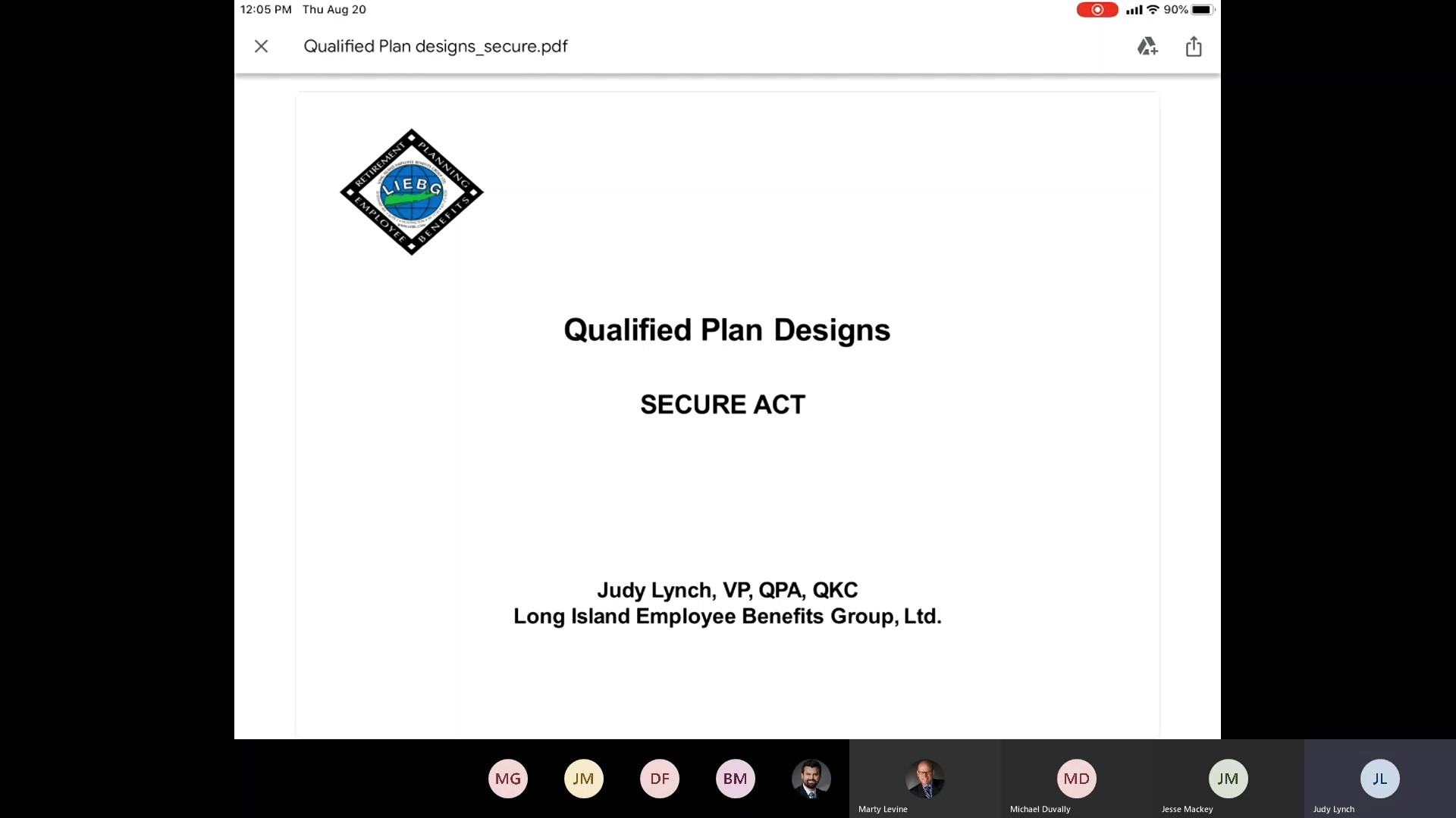 The SECURE ACT, Qualified Plan Updates, Judy Lynch VP LIEBG / 4Thought Financial Group